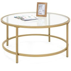 Best Choice Products 36in Round Tempered Glass Coffee Table w/Satin Gold Trim for Home, Living R ...