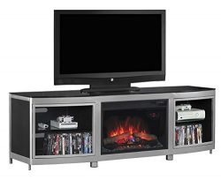ClassicFlame 26MM9313-D974 Gotham TV Stand for TVs up to 80″, Silver/Black (Electric Firep ...