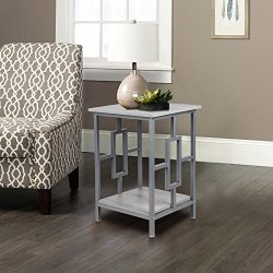 GIA Side End Table – Oak Color – Gray Frame – Sofa Height – Easy Assembl ...
