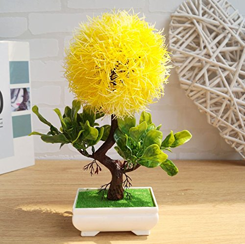 LANJIE Garden Green Plastic Flowers Plants Trees Simulation Grass Planted Bonsai Flower Ornament ...