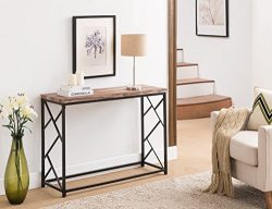 Reclaimed Weathered Oak Finish Top/Black Metal Frame 2-tier Sofa Console Table with Abstract Sid ...