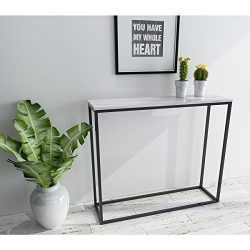 Roomfitters Sofa Console Table Marble Print Top Metal Frame Accent White Narrow Foyer Hall Table ...