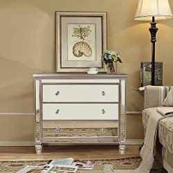 Magari Furniture Argento Mirrored 3-Drawer Accent Chest, Medium