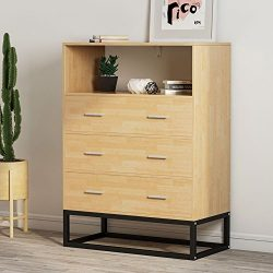 Chests of Drawers, LITTLE TREE Tall Accent Chest with Open Storage, Works as File Cabinet &  ...
