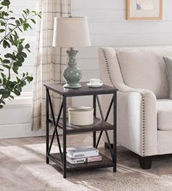 Cappuccino Finish Metal X-Design Chair Side End Table with 3-tier Shelf