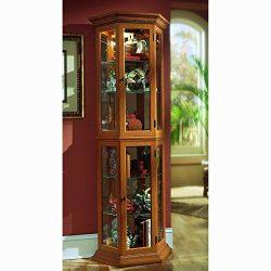 Sofaweb.com Oak Finish Canted Front Curio Cabinet