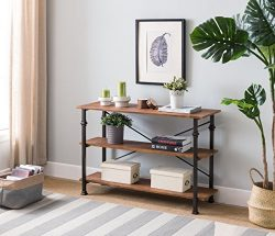 3-tier Vintage Brown/Metal Frame Industrial Style Console Sofa Table by eHomeProducts