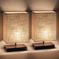 Ewalite 2 PCS Minimalist Romantic Solid Wood Table Lamp With Flaxen Fabric Shade Bedside Desk La ...