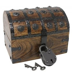Nautical Cove Pirate Treasure Chest with Iron Lock and Skeleton Key – Storage and Decorati ...