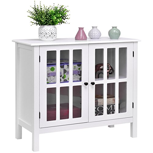 Tangkula Console Cabinet Storage White Glass Door Sideboard Console Table Server Display Buffet  ...