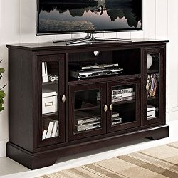 WE Furniture 52″ Wood Highboy Style Tall TV Stand – Espresso