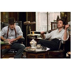 Sherlock Holmes (2009) 8 inch x 10 inch PHOTOGRAPH Jude Law & Robert Downey, Jr. Seated in A ...