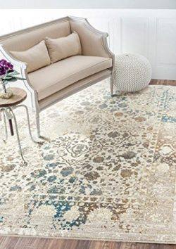 Persian-Rugs 6495 Cream 8×10 Distressed Area Rug Carpet Large New