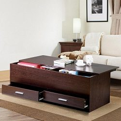 Yaheetech Living Room Slide Top Trunk Coffee Table with Storage Box & 2 Drawers Side Table P ...