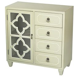 Heather Ann Creations 4 Drawer Wooden Accent Chest and Cabinet, Clover Pattern Grille with Glass ...