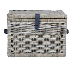 The Basket Lady Deep Wicker Storage Trunk | Wicker Storage Chest, L, Serene Grey