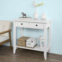 Haotian Console Table,Hall Console Tables, Accent Table,Entryway Table Wood with 2 Drawers and 1 ...