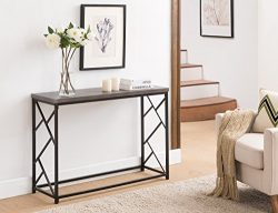 Grey Finish Top / Black Metal Frame 2-tier Sofa Console Table with Abstract Side Design 44.5″W
