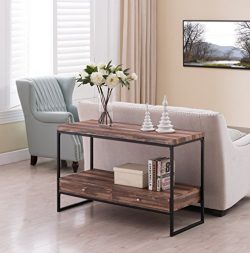 Reclaimed Weathered Oak / Black Metal Frame 2-tier Console Sofa Table Bottom Shelf with 2 Drawers