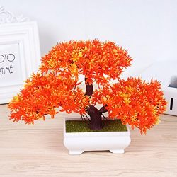 Situmi Artificial Fake Flowers Plastic Green Plants Bonsai Tree Desktopdecor,Orange 3525cm