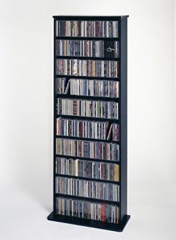 Leslie Dame CDV-500BLK High Capacity Oak Veneer Multimedia Storage Rack, Black