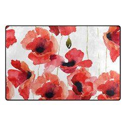 INGBAGS Super Soft Modern Stylized Poppy Flowers Illustration Area Rugs Living Room Carpet Bedro ...