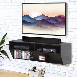 FITUEYES Wall Mounted Audio/Video Console wood grain for xbox one/PS4/vizio/Sumsung/sony TV.DS21 ...