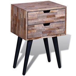 vidaXL Reclaimed Teak Wood Bedside Cabinet 2 Drawer Side Console Table Sideboard