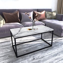 Roomfitters White Marble Print Coffee Table, Upgraded Water Resistant Version, Accent Rectangula ...