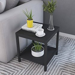 Soges Modern End Table 15.7″ Square Coffee Table Sofa Side Table Telephone Table, Black TV ...