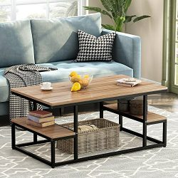 Modern Industrial Coffee Table, LITTLE TREE 48″ Rectangular Cocktail Table with Lower Stor ...