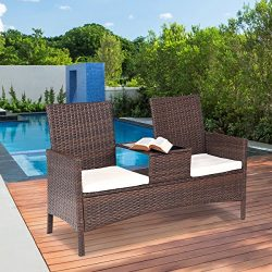 TANGKULA Outdoor Furniture Set Paito Conversation Set with Remoable Cushions & Table Wicker  ...