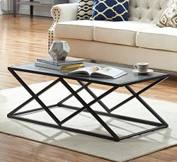 O&K Furniture Modern Industrial Cocktail Coffee Table with Black Metal Frame for Living Room ...