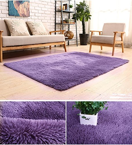 BlueSnail Super Ultra Soft Modern Shag Area Rugs, 4′ x 5′, Bedroom Livingroom Sittin ...