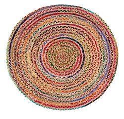 Jute & Cotton Multi Chindi Braid Rug, Hand Woven Reversible, 4-Feet round Rugs, Boho Decorat ...