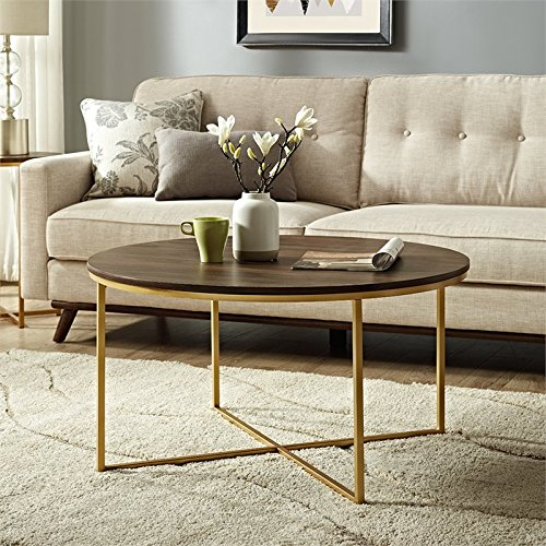 WE Furniture AZF36ALCTDWG Wood Coffee Table, Dark Walnut/Gold