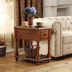End Table with Storage, Tribesigns Solid Wood Sofa Chair Side Table with Drawer for Living Room, ...