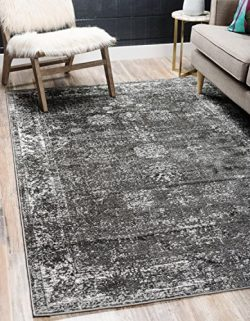 Unique Loom Sofia Collection Traditional Vintage Dark Gray Home Décor Area Rug (5′ x 8′)