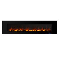 Valuxhome Luxey 72″ 750W/1500W, Wall Mounted Smokeless Electric Fireplace Heater with Remo ...