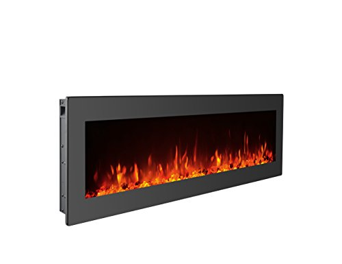 GMHome 40″ Electric Fireplace Wall Mounted Freestanding Heater Crystal Stone Flame Effect  ...
