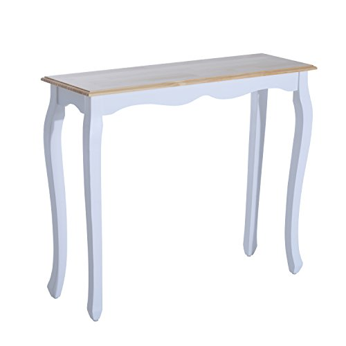 "HOMCOM 35"" Pine Wood Entryway Sofa Console Table – White (White)"