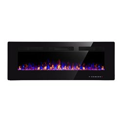 Xbeauty 50″ Electric Fireplace In-Wall Recessed and Wall Mounted 1500W Fireplace Heater an ...