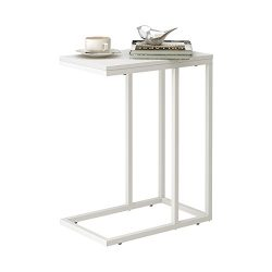 Snack Side End Table Fits Sofa Couch and Bed for Living Room and Office(White)