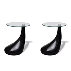 Festnight Set of 2 Round Shape Coffee Table Clear with Glass Top and Teardrop Stand End Side Tab ...