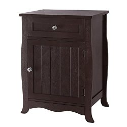 SONGMICS Wooden End Table, Night Stand, Chair Side Table, with Drawer and Cabinet for Storage, B ...