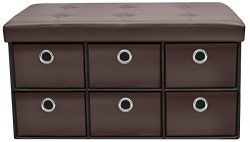 Sorbus Storage Ottoman Bench with Drawers – Collapsible Folding Bench Chest with Cover – Perfect ...