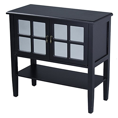 Heather Ann Creations Modern 2 Door Accent Console Cabinet With 4 Pane Mirror Insert and Bottom  ...