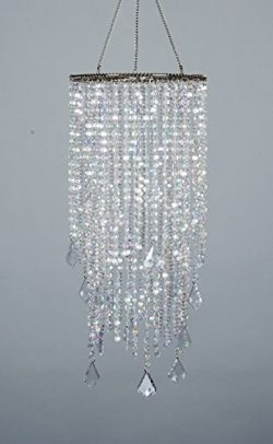 FlavorThings 2 Tiers 20.5″ Tall Sparkling Iridescent Acrylic Beaded Hanging Chandelier,Gre ...