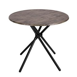 Kitchen Dining Table Industrial Brown Round Mid-Century Wood Coffee Table Office Home Easy-Assem ...