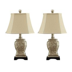 Table Lamp,Topotdor Antique Brass Polyresin Table Lamps – Set of 2 (Gold)